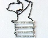 Madonna Jewelry // Like A Prayer Necklace // Pop Music Jewelry // Statement Necklace // Lyrics Necklace // Chain Necklace // Geometric Bar