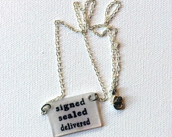 Stevie Wonder Jewelry // Signed Sealed Delivered Necklace // Music Jewelry // Lyrics Necklace // Chain Necklace // Motown // Got Soul