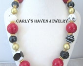 Black, white, red, and gold chunky beaded necklace for women, ready to ship, gifts for women, gifts for mom, chunky necklace, gifts under 40