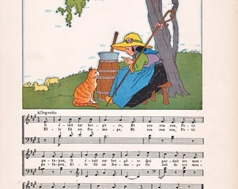 vintage French children's illustration, from the 1920's, charming nursery or classroom decor