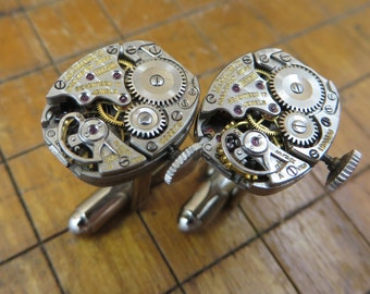 LeCoultre 490/BW Watch Movement Cufflinks. Great for Fathers Day, Anniversary, Groomsmen or Just Because.  #649
