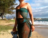 Stretch Wrap Dress Sarong Cover Up. Wrap Beyond Your Dreams. Beach. Maternity. Yoga. Turquoise Earth. Handpainted