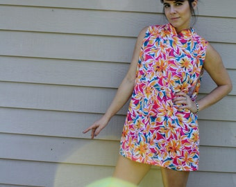 Upcycled Vintage Floral Mini Dress / Tunic