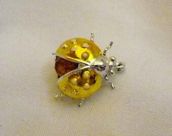 Vintage Enamel Ladybug Scatter Pin Golden Amber