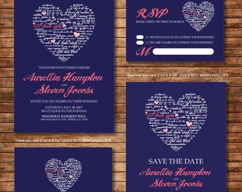 Wedding Invitation Printables, Coral And Navy Blue, Heart, Customized DIY,  Thank You