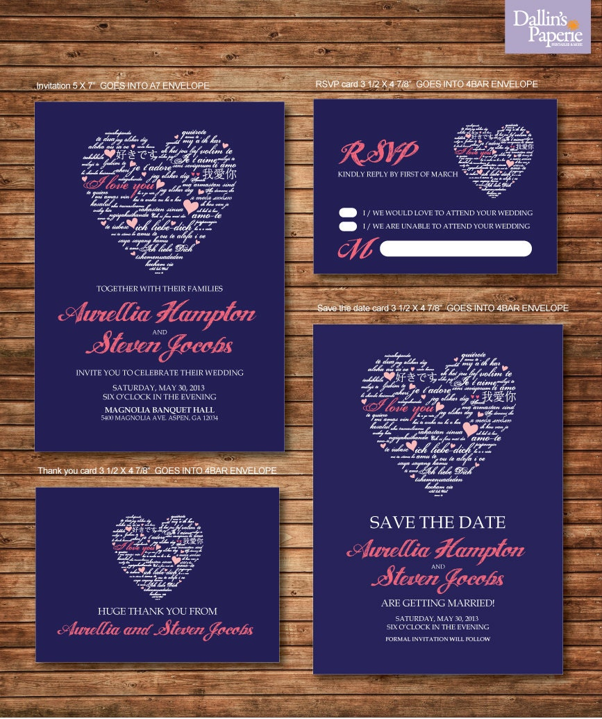 Wedding invitation printables coral and navy blue heart for Royal blue and coral wedding invitations