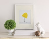 Umbrella Girl - Pen and Ink Illustration, 8x10 Art Print, Illustrated Print, Illustrated Art, Umbrella Print, Childrens Art, Nursery Decor