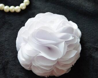 White Wedding, Bridal Hair Flower, White Hair Piece, Chiffon Flower, Hair Clip, Hair Accessories, Bridesmaid, Flower Girl, Fascinator