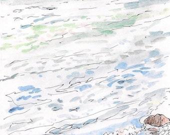 Sea to shore, ocean seascape, landscape fine art print 8x10 Little Compton Rhode Island, rocks, waves, Blue Green Brown Orange