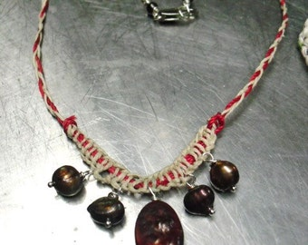 Pearls  and Hemp Hand Braided Necklace- Natural jewelry for her-
