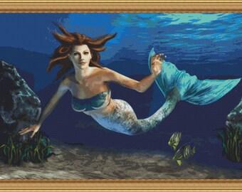 Cross Stitch Pattern Adrienne the Mermaid Xstitch Design Instant Download pdf