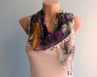 Feather Scarf Cotton Scarf Purple Brown Black Lilac Grey Feather Scarf