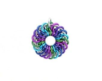 Multicolor Pendant, Chain Maille Pendant, Jump Ring Jewelry, Round Pendant, Aluminum Jewelry