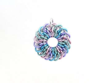 Pastel Chain Maille Pendant, Jump Ring Jewelry, Aluminum Pendant, Multicolor Jewelry