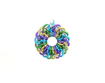 Handmade Pendant, Chain Maille Pendant, Jump Ring Jewelry, Aluminum Jewelry, Multicolor Pendant
