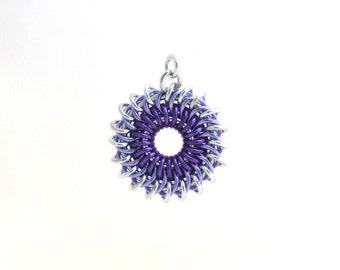 Purple Sunburst Pendant, Chain Maille Pendant, Aluminum Jump Ring Jewelry