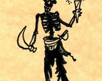 Undead Pirate Rogue Rubber Stamp