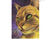 ACEO Green Eyed Gold Cat, Archival Art Print, SFA Small Format Art, Artist Trading Card, Cat Acrylic Painting Print, ADA-P379