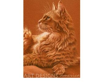 ACEO Somali Cat Art Print, Somali Cat Pastel Drawing, Archival Print, SFA Small Format Art, Artist Trading Card, Cat Painting, ADA-P346