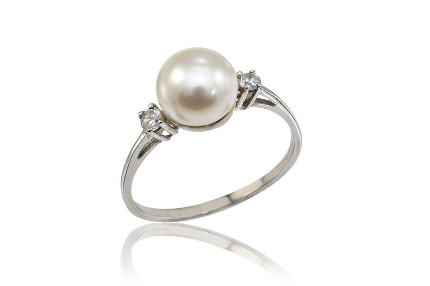pearl engagement ring june birthstone ring pearl and diamonds gold ring dainty 14k - Pearl Wedding Ring