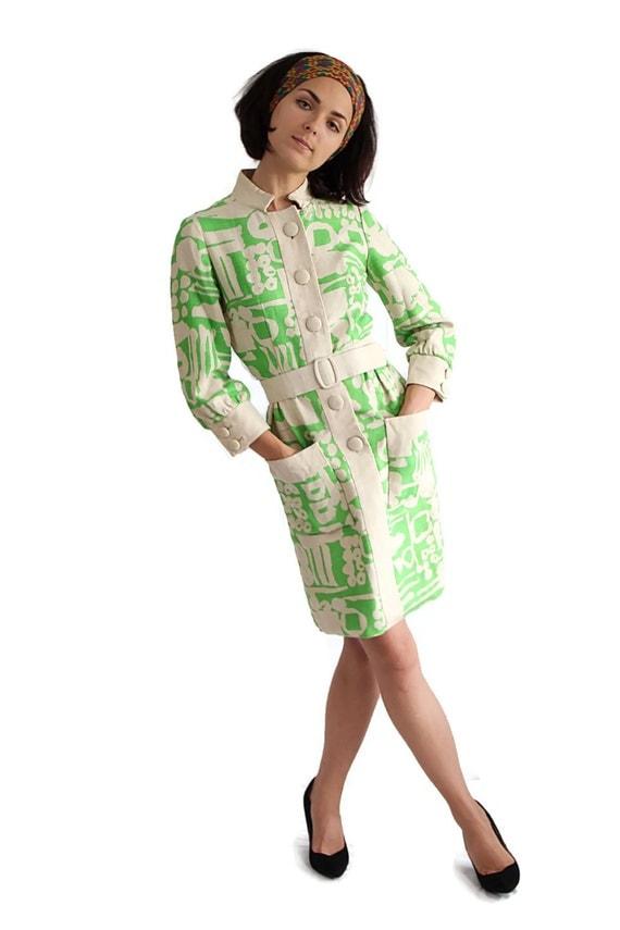 60s Dress / Mod / Wiggle Dress / Abstract / Green / Earl Shepard / Ireland