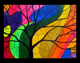 """GICLEE PRINT of painting """"Vibrant"""", modern art, colorful painting, bright rainbow painting"""