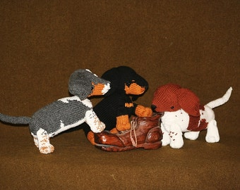 One Custom Knitted Dachshund - Memorial of Pet - Knit Doll