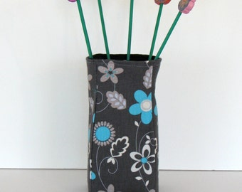 vase soft sculpture and polymer clay flowers - black cotton fabric with blue and gray modern floral print
