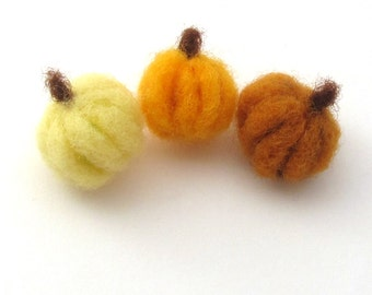 3 Felt pumpkin, Fall decorations, orange brown and yellow miniature pumpkins, needle felted harvest