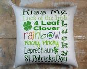 St. Patrick's Day Pillow, Leprechaun, Clover, Irish, Cottage Decor, Holiday Decor