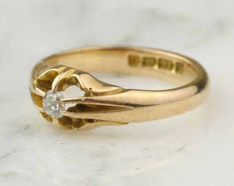 Victorian 18k Gold Belcher Set Old Mine Diamond Solitaire Engagement Ring