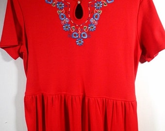 Red Maxi Dress Size 8 10 Medium Long Loose Cotton Blend Embroidery Short Sleeves Summer Vintage