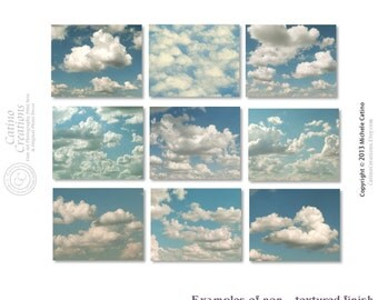 Cloud Photo Set, Cloudy Sky Photography, Fluffy Cloud set of NINE Prints, Blue Sky White Clouds, Nursery Prints, Head in the Clouds Decor