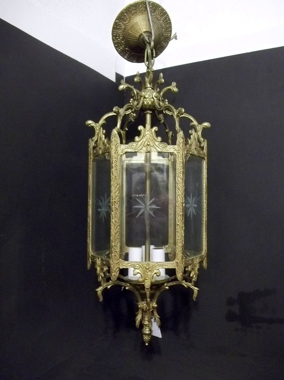 6 Sided Etched Glass Ornate Brass Hanging Light Pendant Light