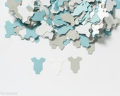 OnePiece Baby Shower Confetti, Baby Shower Decoration, Baby Shower Confetti,  OnePiece Confetti, Infant Body Suit - Light Blue and Gray