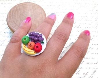 Miniature Plate Of Fruit Adjustable Ring. Kawaii Colorful Adjustable Brass Ring. Summer Picnic. Apple. Banana. Orange. Red. Grapes. Food.
