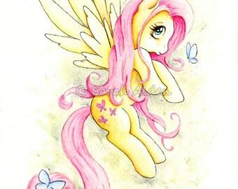 My Little Pony Fluttershy Art Print MLP Butterfly - Sarah Alden Art