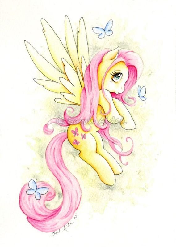 My Little Pony Fluttershy Art Print Mlp Butterfly Sarah