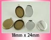 10 ct. OVAL Shiny Silver or Bronze over Brass 18 x 25mm Earring or Mini Pendants Charm Drop Dangles -  Ships from USA. Glass is  Optional