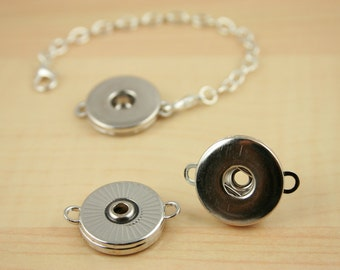 5  Bracelet LINK Base-DIY SNAP Bezel Base. Works with Snap Jewelry-Snap Bezel Tops are sold separately- Optional Bracelet Chain