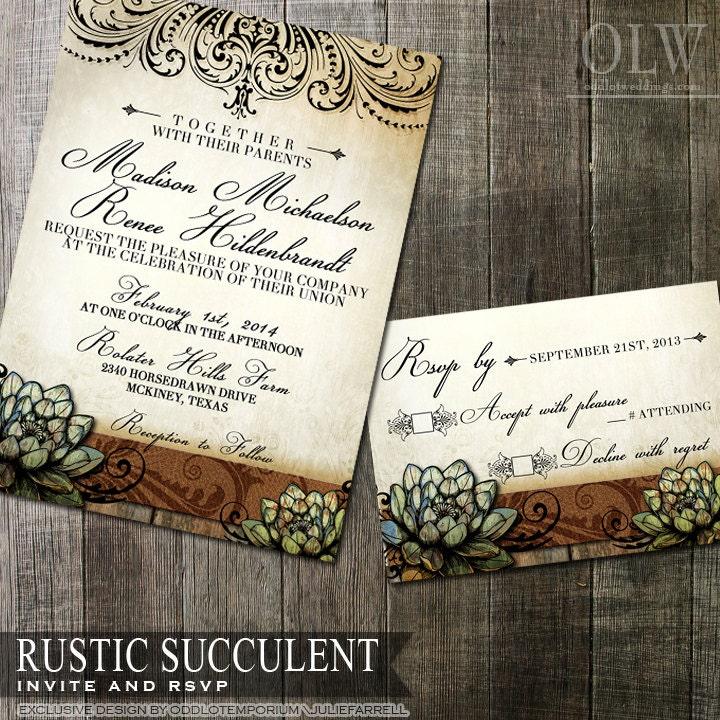 Rustic succulent wedding invitation and rsvp digital for Digital wedding invitations with rsvp