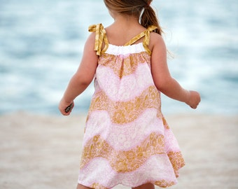 Girls Sun Dress /  Pale Pink and Gold Voile / 12m - 6 years