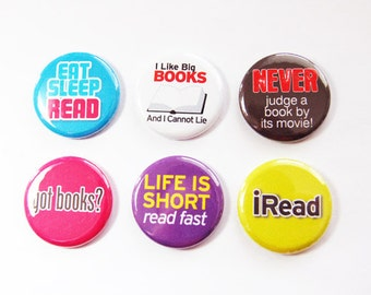 Reading, Read, iRead, button magnets, Kitchen Magnets, bright colors, locker magnets, gift for bookclub, stocking stuffer (3287)