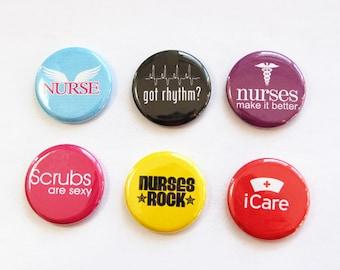 Nurse magnets, button magnets, Magnets for nurse, Nurses week, Gift for Nurse, Kitchen Magnets, iCare, Nursing, stocking stuffer (3306)