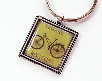 Key chain, Key ring, Keychain, keyring, stocking stuffer, Vintage Recycling, Recycling, green, bicycle, under 10 (4389)