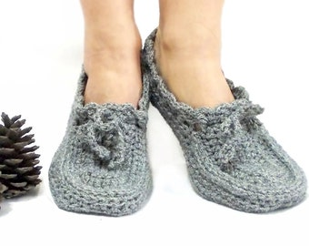 Crochet slippers, Grey Slippers, Crochet booties, Blue Grey, Soft slippers, Thick slippers, House shoes, House slippers