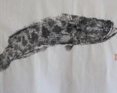 SNAKEHEAD FISH (Rai Gyou) Original Gyotaku - traditional Japanese fish art by dowaito