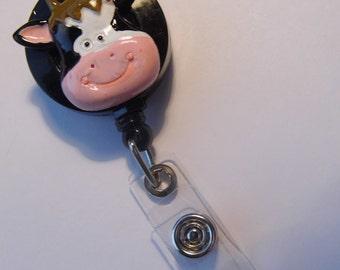 Badge reel retractable ID Holder Glasses Key Card Teacher Doctor Nurse Cow Farm Cowgirl