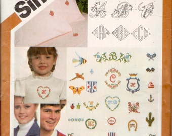 vintage Simplicity 5171 // transfer for embroidery monograms and motifs