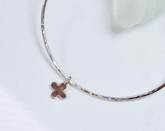 Silver Cross Bangle . Stacking Bracelet